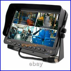 7 Quad Monitor Kit Backup Reversing Cameras System Waterproof Car CCD Cameras