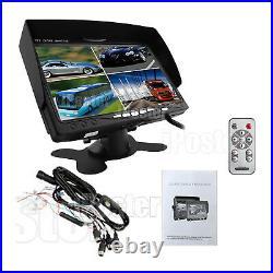 7 Split Quad Car Reversing Monitor 4 Video +4x Truck CCD Backup Camera 24V-12V