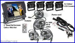 9 Quad Split Screen Monitor Truck Trailer Backup Camera System Reversing Camera
