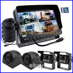 Vehicle Backup Reverse Camera Safety System +9 Monitor With DVR & Quad Screen