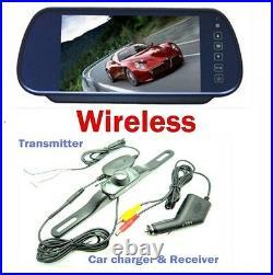 Wireless 7 Reversing Camera Kit Monitor Rear View Parking Back Up Car Mirror